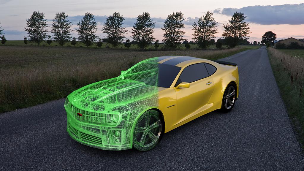 3D Modeling camaro wireframe blend