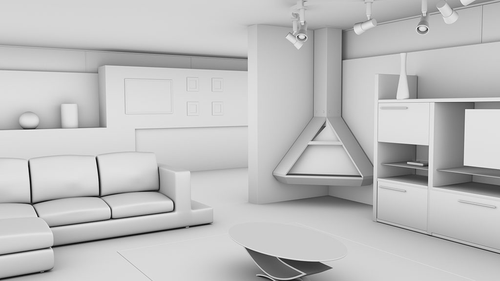 Ambient Occlusion pass of interior room